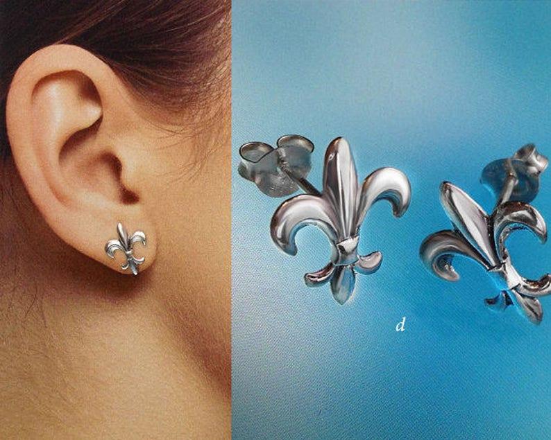 925 Solid Sterling Silver FLEUR DE LYS Earrings Oxidized StudsFleur de Lis Fleur de lis Stud Earrings