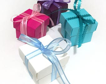 Jewelry Gift Box with Lid and Ribbon Bow + Card with Envelope-Ivory/Deep Pink/Deep Violet/Aqua Color Gift Box