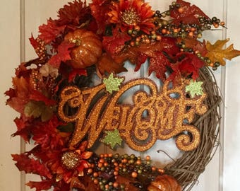 Fall Wreath Welcome Sign