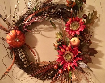 Gorgeous Fall Wreath With Sunflowers and Feathers Door Wreath