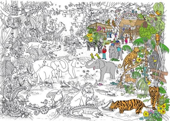 Jungla Safari colorear cartel | Etsy