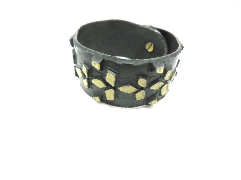 Bracelet made of recycled bicycle tire red-yellow.
