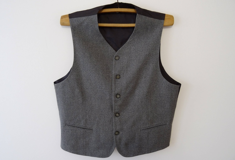 Vintage Gray Vest Mens Formal Fitted Edwardian XL Waistcoat Baroque Steampunk Wedding Outfit Classic Traditional Gift to Dad 320
