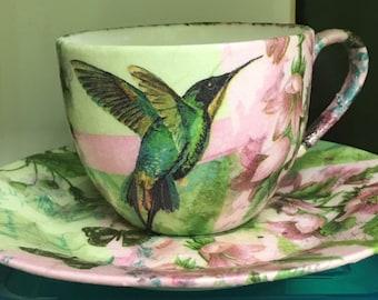 Hummingbird cup and saucer