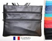 Leather women bag purse shoulder bag clutch made France, size M, shoulder, lamb, handmade, Vintage, timeless, quot Sam quot