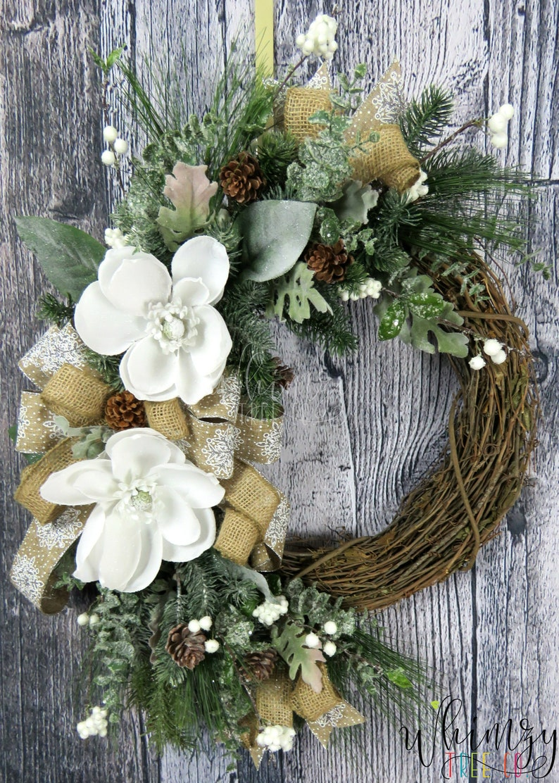 Wreath For Front Door Winter Wreath Magnolia Wreath Winter Etsy