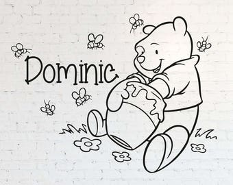 Winnie The Pooh Custom Name Wall Decal Personalized Sticker Art Disney Decorations For Home Teen Kids Boys Room Bedroom Nursery Decor ET121