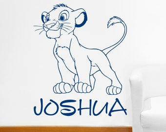 Custom Name Simba Wall Decal Personalized Sticker Lion King Art Disney Decorations for Home Teen Kids Boys Room Bedroom Nursery Decor ET107