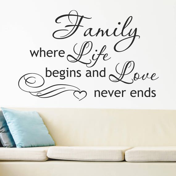 family wall decal family where life begins and love never ends | etsy