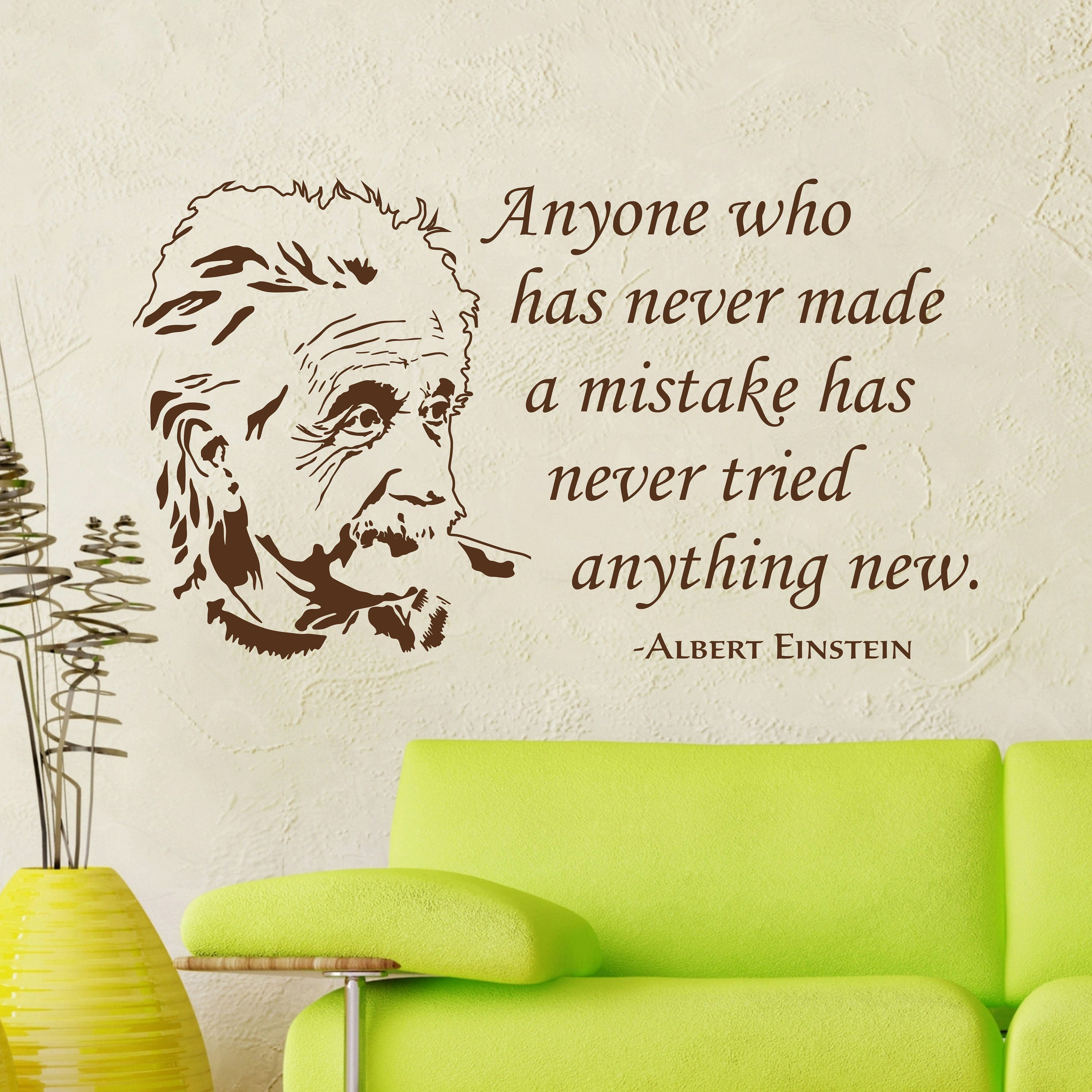 Albert Einstein Vinyl Wall Decal Quote Anyone Who Has Wall Etsy