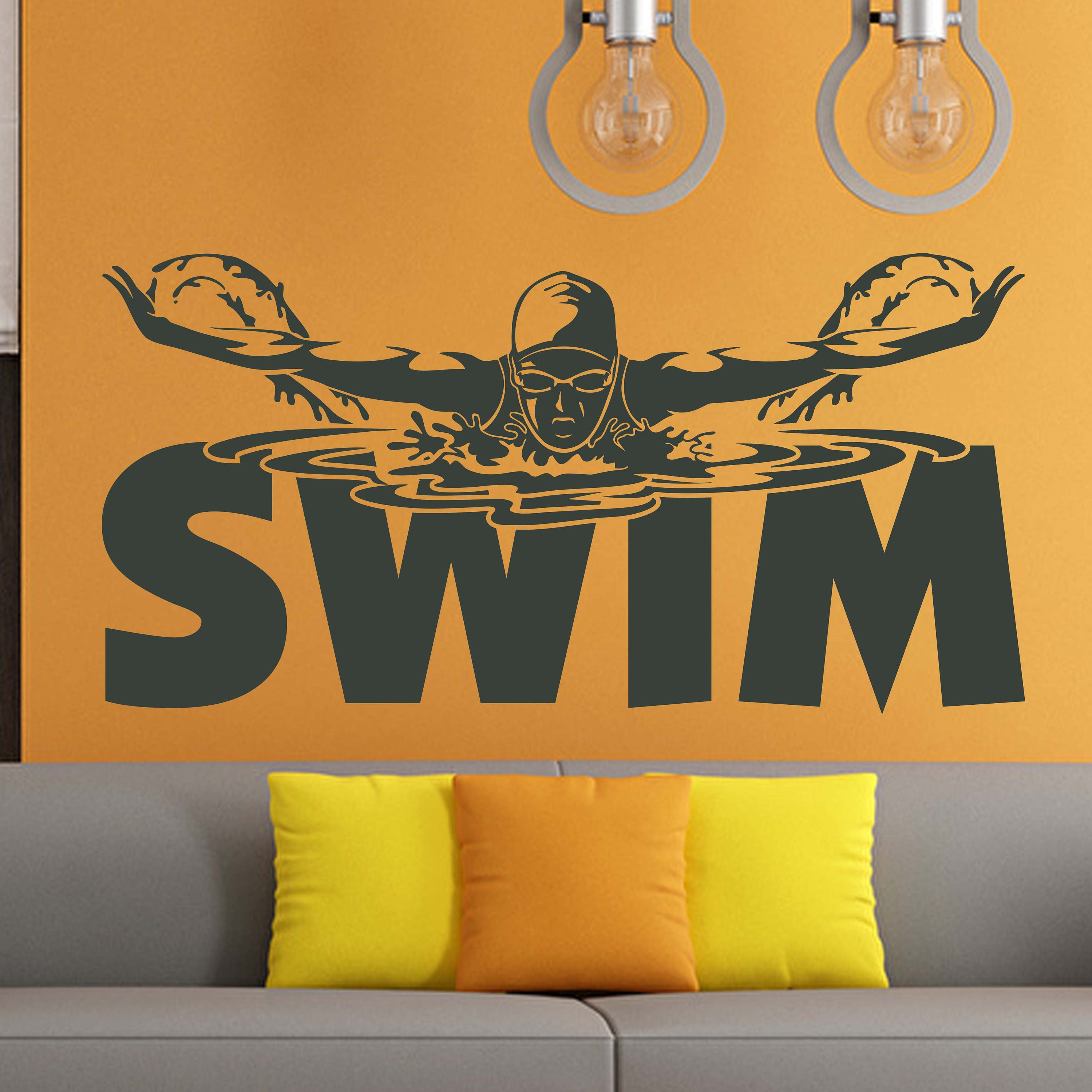 Swimming Pool Signs Swimmer Gift Sports Wall Decals Stickers
