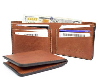 Personalized leather wallet, Personalized wallet, Mens leather wallet, Leather wallet, Mens wallet, Wallet, Mens gift, Billfold wallet, Gift