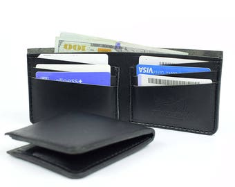 Personalized Black leather wallet, Personalized wallet, Mens leather wallet, Leather wallet, Mens wallet, Wallet, Mens gift, Bifold wallet