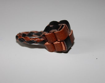 """Kera braided leather ring"