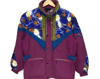 7089e4ca5112 Vintage ROSSIGNOL Winter Ski Jacket Mountain Snow Pop Art Full Graphic  Goose Down Emilio Pucci Large Coat Puffer