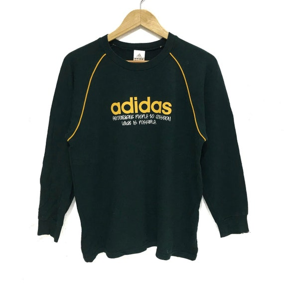 Vintage ADIDAS Spell Out 3 Stripes Green Crewneck Sweatshirt Jumper Athletic Sports Running Sweater