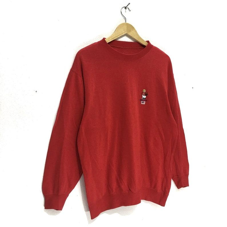 Vintage WORLD BEAR Red Crewneck Sweatshirt Sweater Jumper Polo Bear Basketball