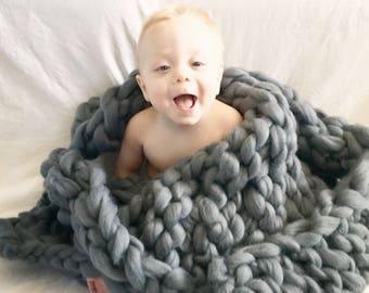 Baby Blanket, Chunky Knit Blanket, Merino Wool Blanket, Chunky Knit, Chunky Knit Baby Blanket
