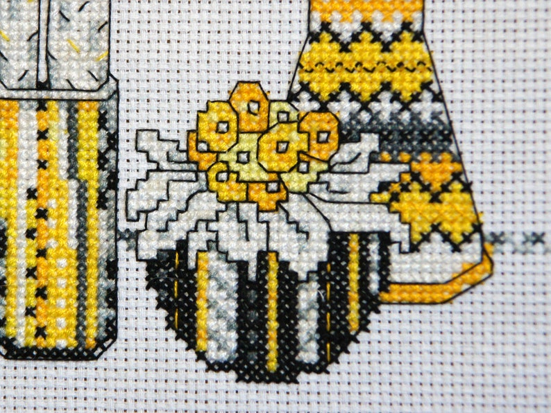 house plants and vases Cactus Needlepoint pattern Still life with yellow flowers Modern cross stitch pattern PDF Instant download