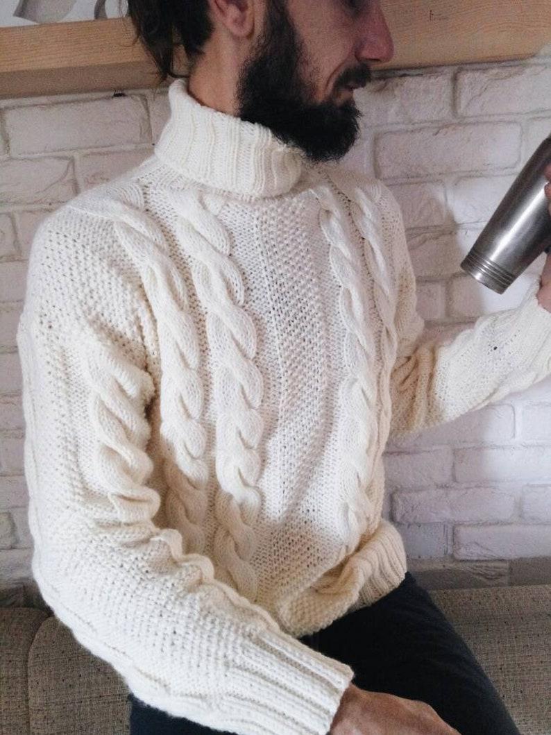 ec19adb3976c White men s sweater Hand knitted men pullover Wool Cozy