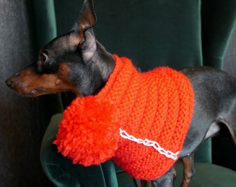 Vibrant puffy dog scarf with pom pom, lovely red cowl for puppy