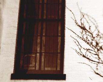 GOTHIC CHURCH WINDOW: PR1NT, sepia, church window, Gothic church building, Lensbaby, Church photography, black & white photography, vintage