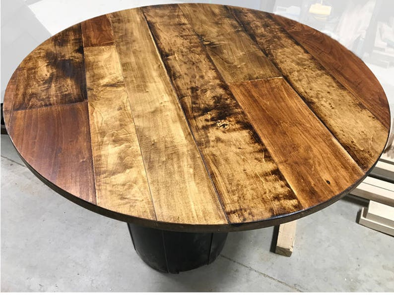 1 Round Table Top Maple Plank Table Top Rustic Wood Etsy