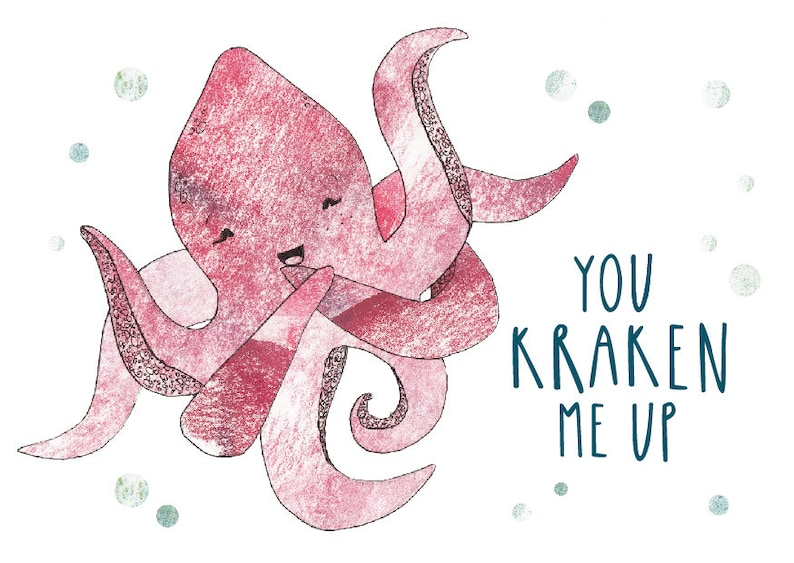 Pun Funny A6 Greetings Card Snowtap Punny Octopus You Crack Me Up Giggles Friend You Kraken Me Up Funny Lol Birthday