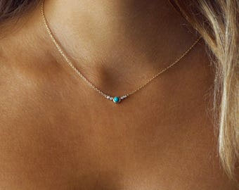 Turquoise Labradorite Zircon Cluster Bar Necklace-Gold Vermeil-Gold -Tiny Dainty Delicate Necklace-Crystal Necklace-Simple-Minimalist-Small