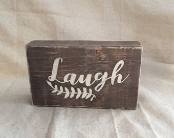 Rustic Wood Words Block, Laugh, shabby chic, country, farmhouse decor