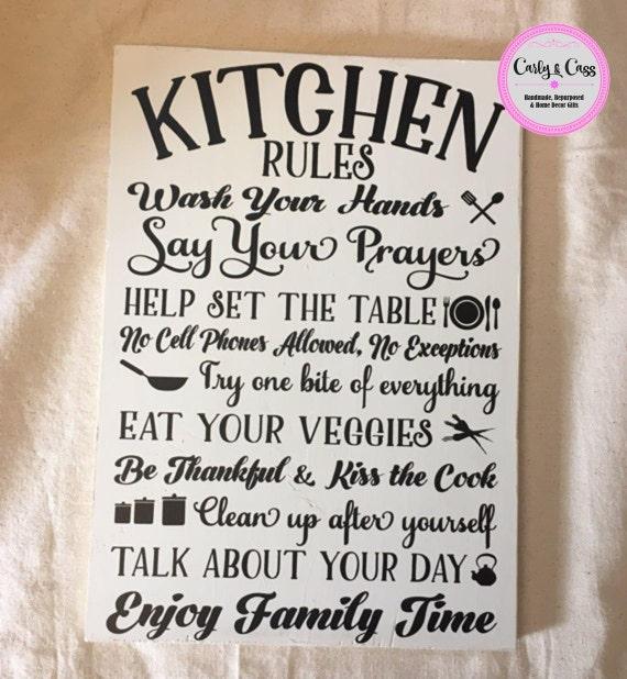 Kitchen Rules Sign: Wood Sign Kitchen Rules Sign Wood Sign Cute Gift Cute
