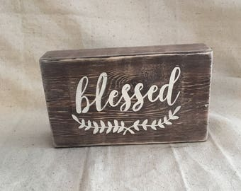 Rustic Wood Words Block, blessed, shabby chic, country, farmhouse decor