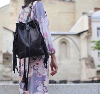 Womens bucket bag, Black bucket bag, Convertible backpack, Small black rucksack, Fringe backpack, Leather rucksack women, Coach bucket bag