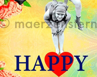 """Greeting Card """"Happy"""" for any occasion, birthday card, after the pandemic girl at game and sports (31), flowers,heart,funny,funny,happy"""