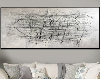 Oversized Abstract Wall Art Black And White Painting On Canvas Original Abstract Canvas Art  Abstract Acrylic Painting Canvas Office Decor