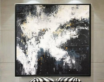 Large Oil Paintings On Canvas Thick Enamel Layers Black And White Oil Painting Abstract Painting Black White Painting Original Art On Canvas