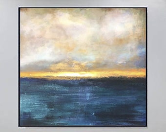 Ocean Painting Large Abstract Wall Artwork Original Sunset Oil Art Extra Large Navy Blue Oil Painting Original Wall Art Original Wall Decor