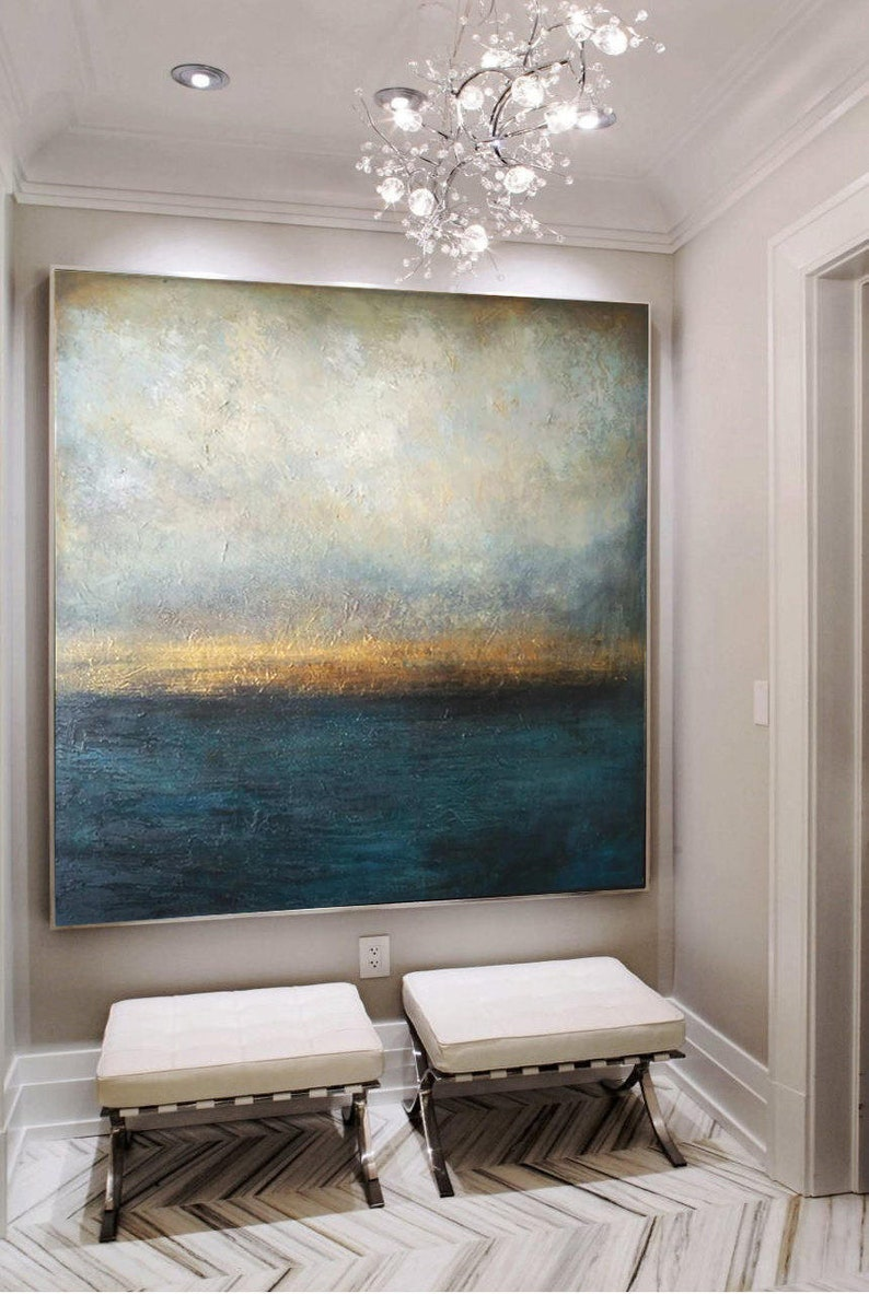 Large Oil Painting Original Canvas Sea Abstract Painting Blue image 0