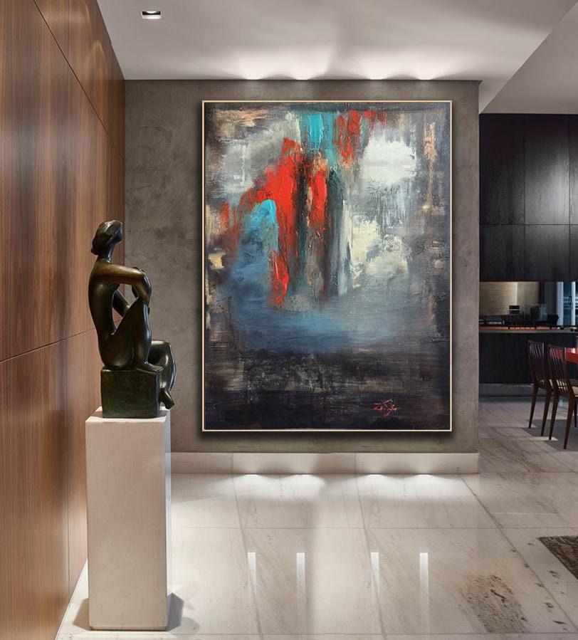 grande peinture abstraite sur toile peinture color e originale etsy. Black Bedroom Furniture Sets. Home Design Ideas