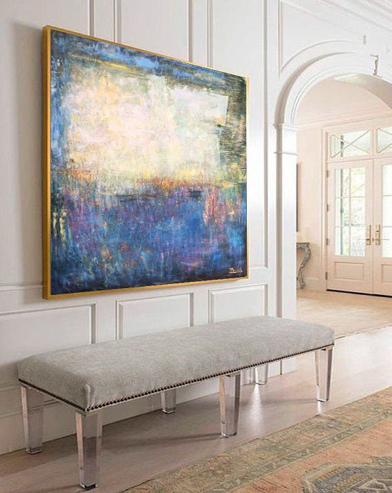 Large Canvas Wall Art Abstract Colorful Wall Art Yellow Painting Blue Canvas Art Oil Abstract Painting Abstract Canvas Wall Art Office Decor