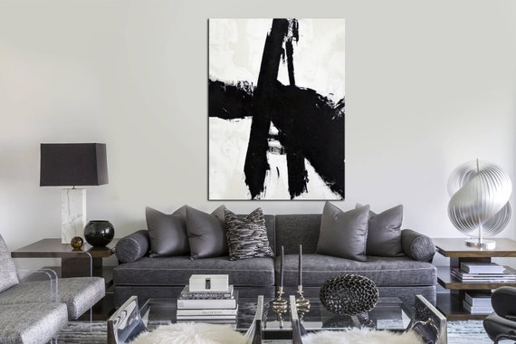 Large Canvas Wall Art Abstract Painting Office Painting Black And White Painting White Painting Oil Painting Abstract Art Canvas Painting
