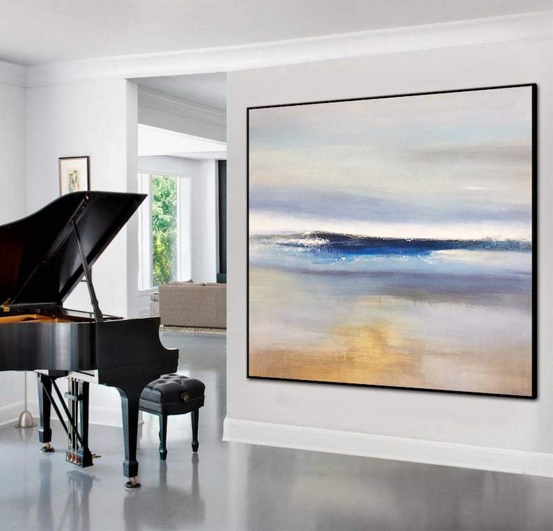 Large Wall Art Abstract Blue Wall Art Brown Painting Sea Abstract Painting Canvas Painting Acrylic Abstract Art Canvas Living Room Decor