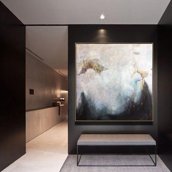 Large Canvas Wall Art Abstract Black Painting Gray Painting Contemporary Art Texture Abstract Painting Wall Painting For Living Room