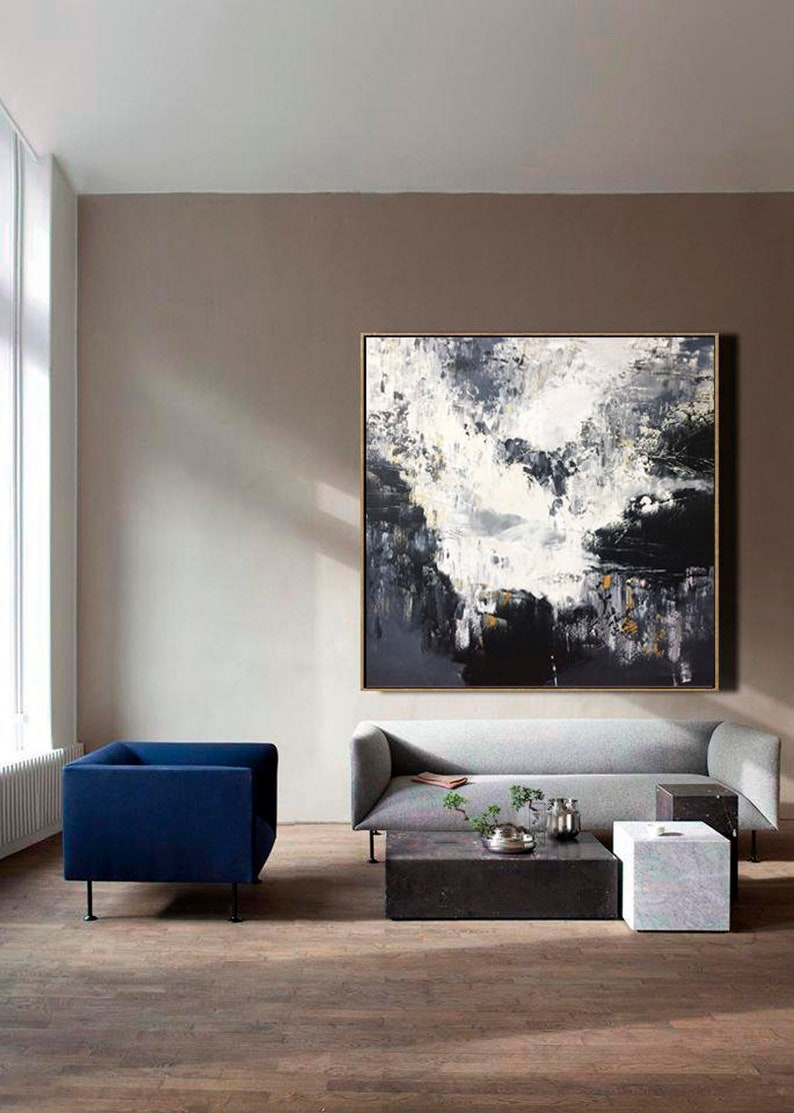 Large Abstract Oil Painting Oversized Painting Black And White image 0