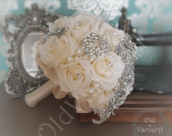 Wedding Bridal Bouquet/ Ivory Roses Pearls and Brooch Bouquet/ Made To Order