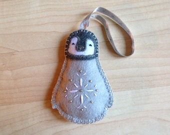 Felt baby penguin ornament, Felt bird decoration, Handmade bird ornament, Bird ornament