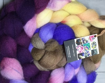 PB and J Hand Dyed BFL Wool Top Roving