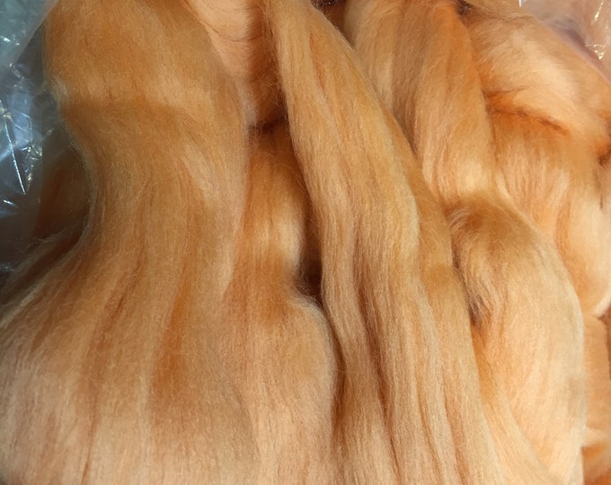 Peachy Mango Merino Combed Top by the ounce