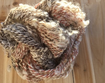 Fall Frost Lockspun Art Yarn - 2 ply 3 oz  81 yards Cotswold locks and wool