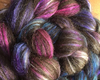 Galaxy - Hand Dyed Alpaca/Silk Combed Top Spinning Fiber - 4 oz